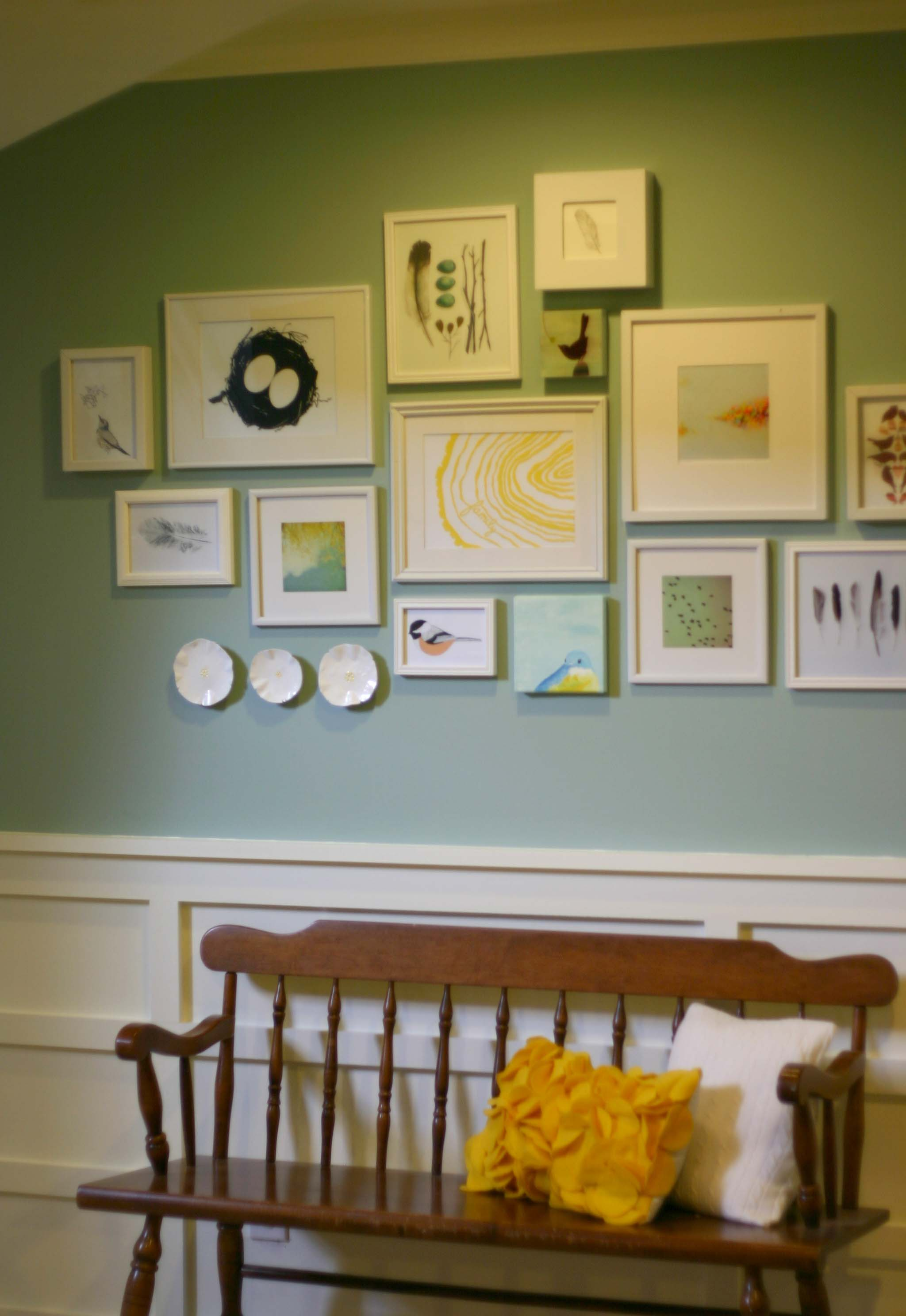 Bird Gallery Wall With Bench