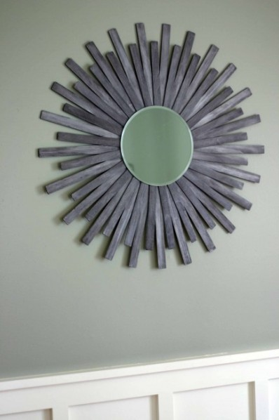 Paint Stick Sunburst Mirror Over Bench