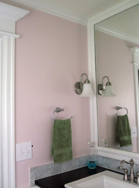 Master Bathroom Painted Pink After Sink Side