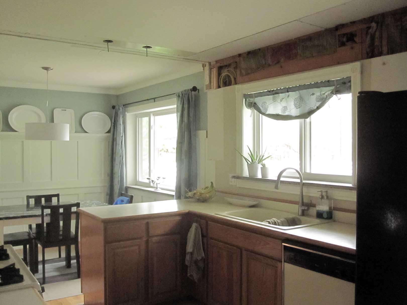 Kitchen Soffit Demo After Sink Side