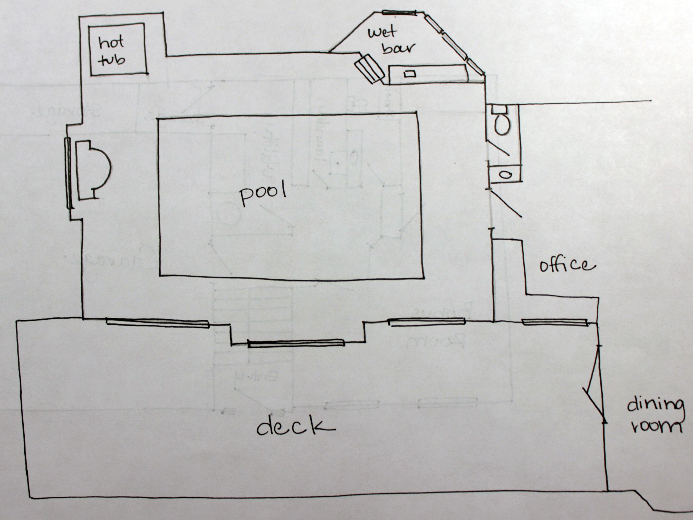 hand drawn pool room floor plan