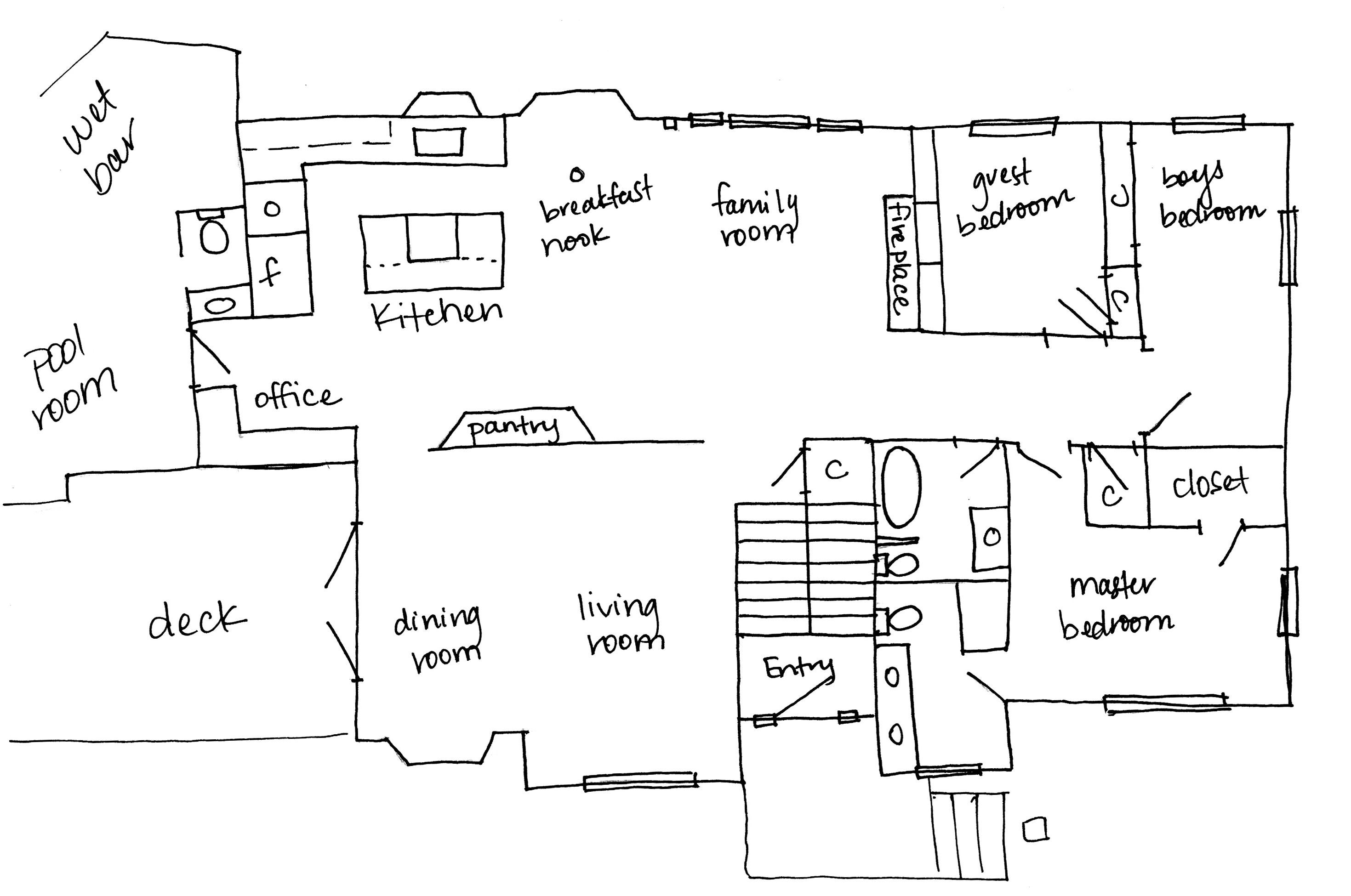hand drawn upper level floor plan. Black Bedroom Furniture Sets. Home Design Ideas
