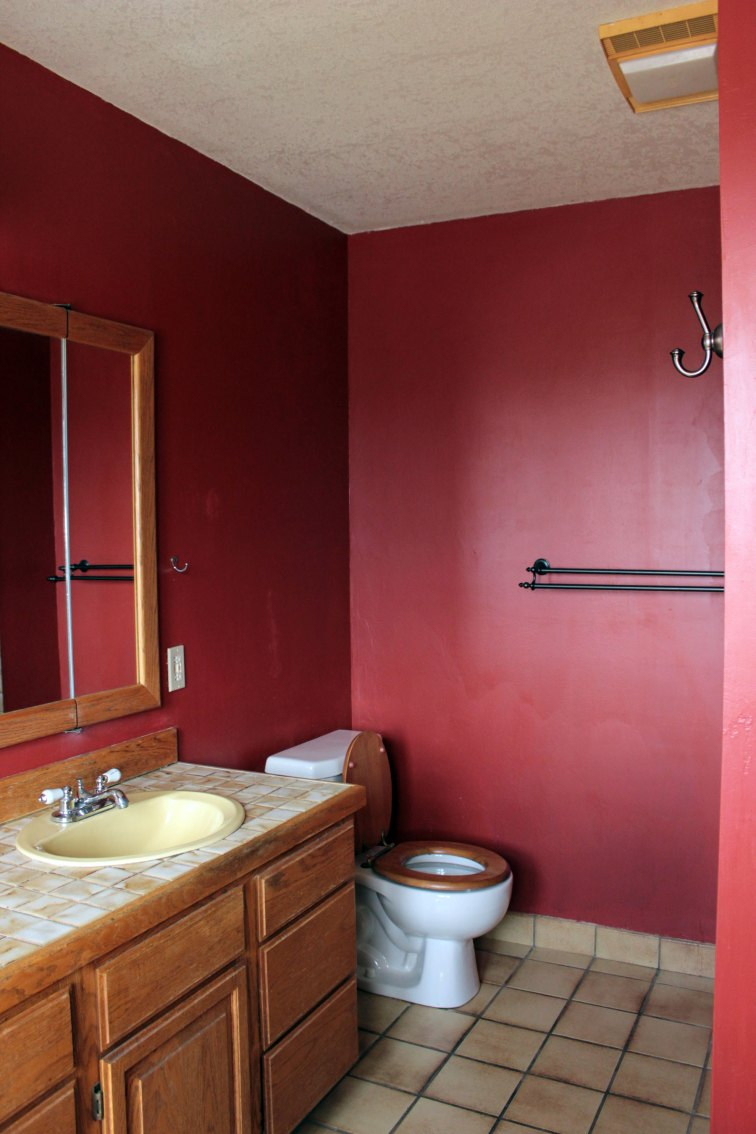 Maroon Master Bathroom Before