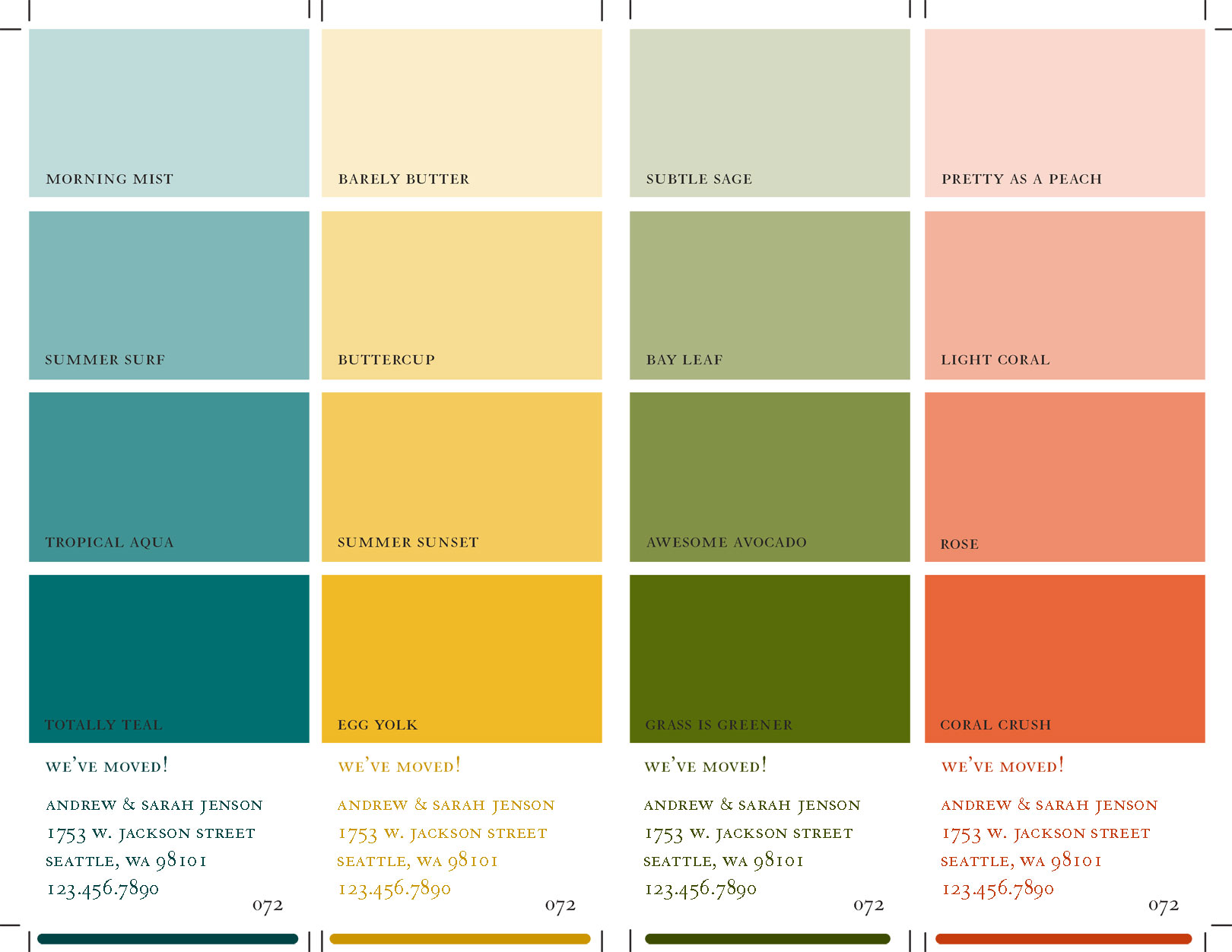 Four color paint swatch sheet jpg