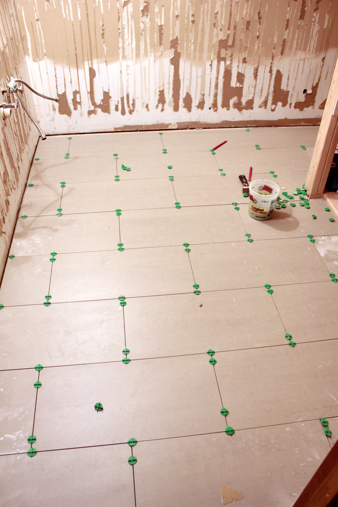 Main Bathroom Floor Tile Layout Cutting Our Humble Abode