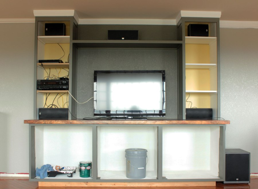 Entertainment-Center-Painted-Gray-with-Gray-Back