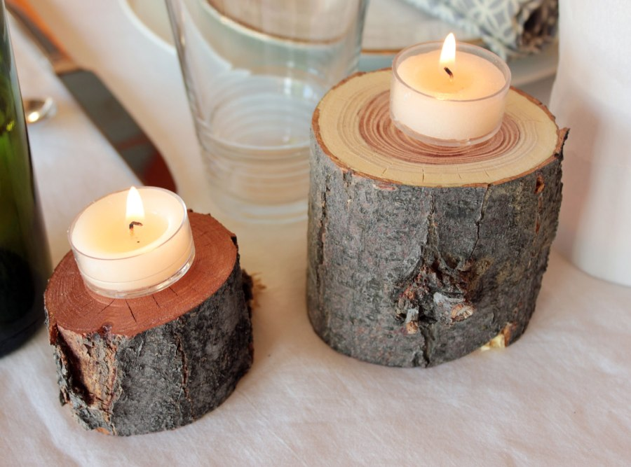 Thanksgiving 2012 table setting log candle holders top for Log candle holder how to make