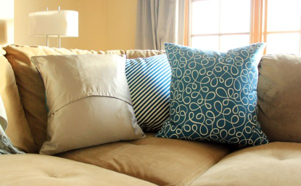 Blue and Green Winter Pillows Satin Back
