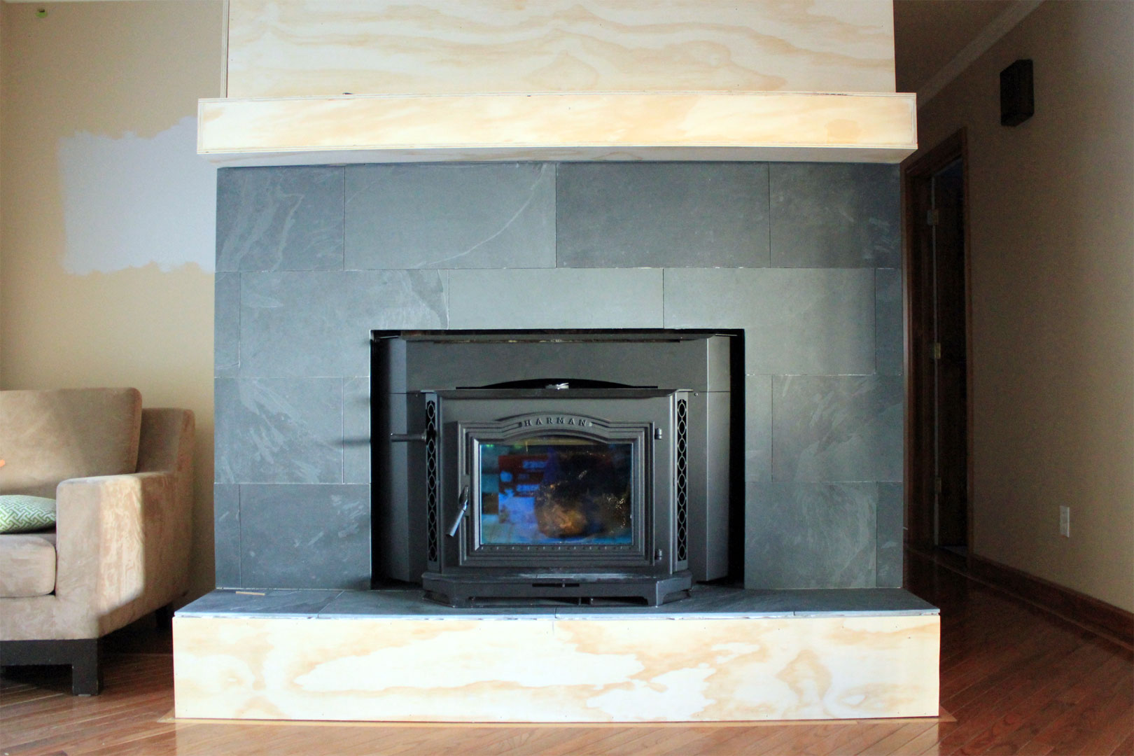 Fireplace Cover Up With Slate Bottom