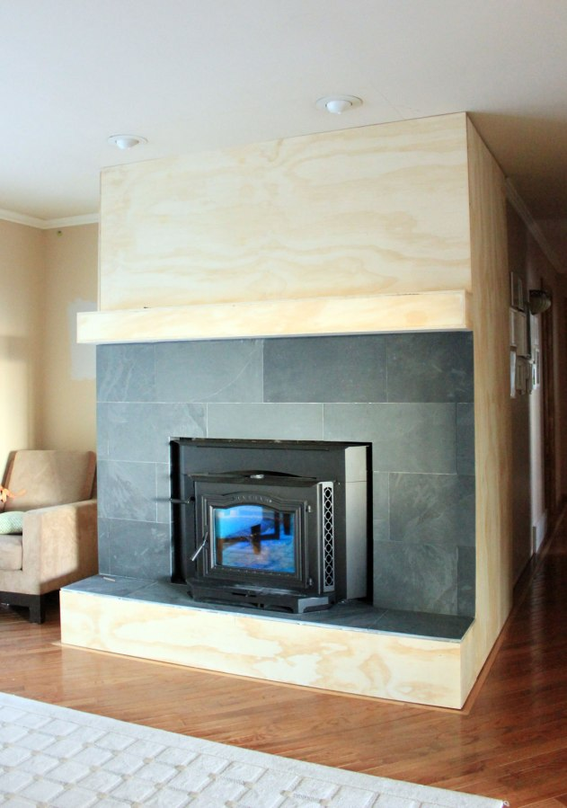 Fireplace Cover Up With Slate To Hall Our Humble Abode