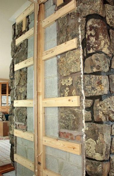 Fireplace Rock Removal Left Side