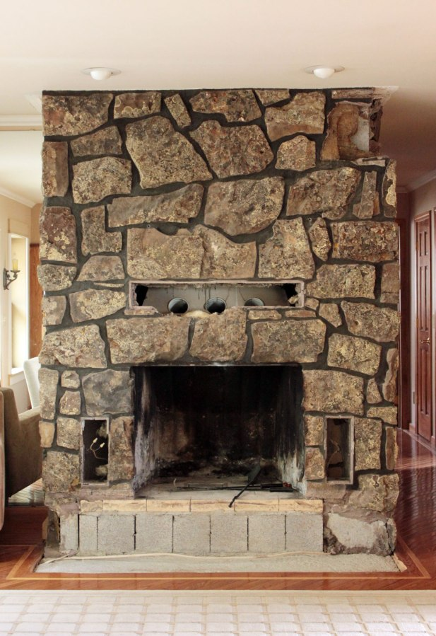 rock fireplace makeover images stacked rock fireplace kitchen family room pinterest