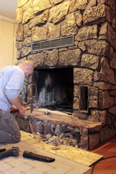 Fireplace Rock Removal Starting