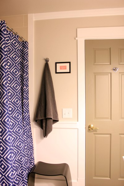 Main Bathroom Painted Door With Shower Curtain