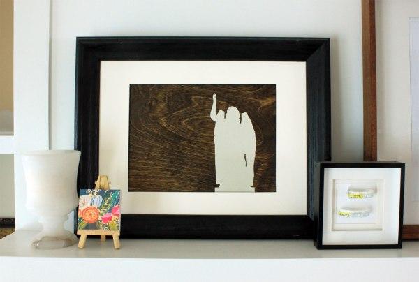 Art On Mantel Silhouette on Wood