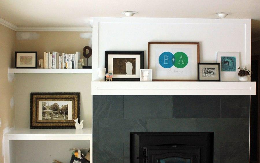 Family-Room-Bookshelf-Arrangement-Book-Sculpture-and-Frame