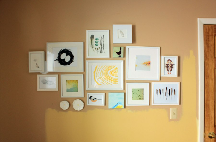 Guest Room Without Sconces Finished Gallery Wall