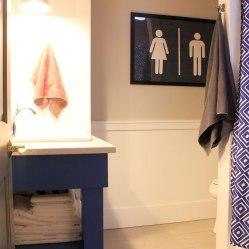 Main Bathroom Blue Vanity and Art