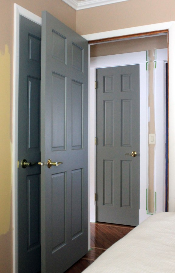 Painted gray doors guest room and hall our humble abode for Painted interior door designs
