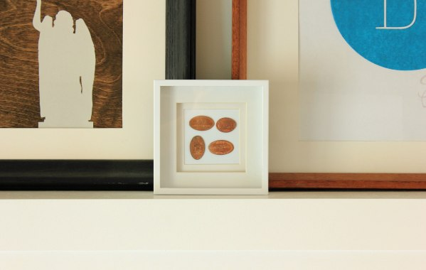 Squished Pennies in Frame