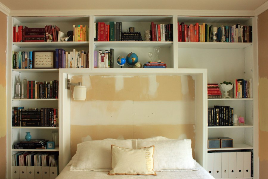 wall storage for small bedrooms guest bedroom books on shelves our humble abode 20100