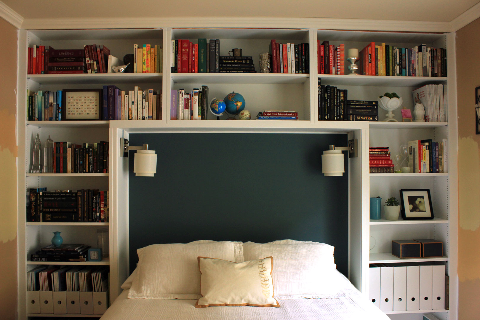 bookshelf headboard queen plans