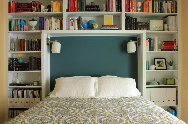 Guest-Bedroom-Damask-Bedding-Headboard