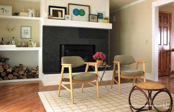 MCM Chairs by Fireplace from Breakfast Nook