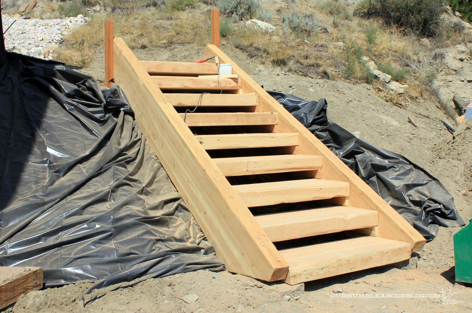 How to build wooden steps on a hill dewalt planers for Pre built stairs