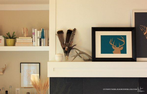 Jewel-Tone-Fall-Mantel-Antlers-and-Feathers