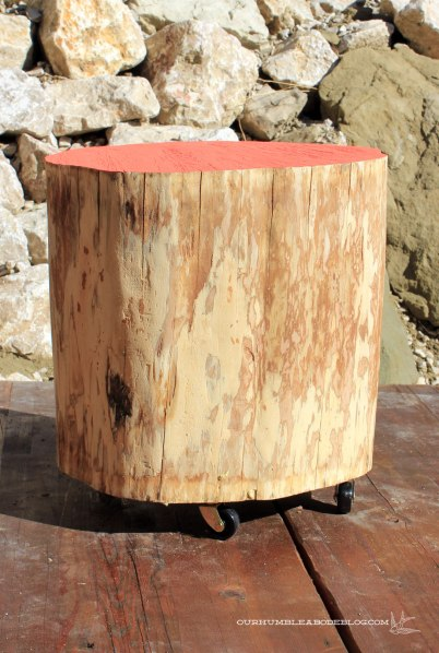 Stump-Table-with-Painted-Top-and-Casters