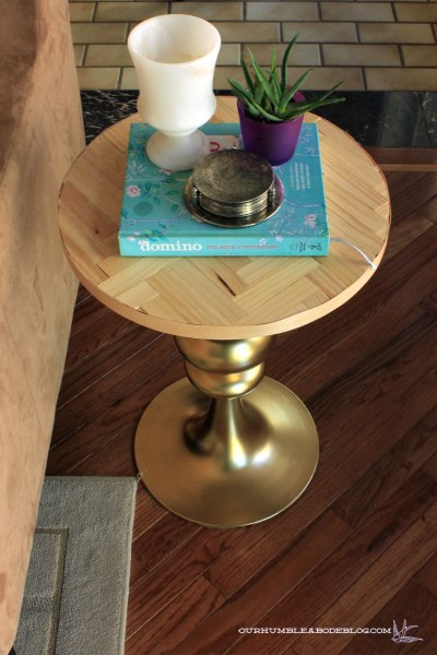 Gold-and-Herringbone-Side-Table-from-Above