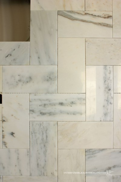 Marble-Herringbone-Shower-Tile-Detail