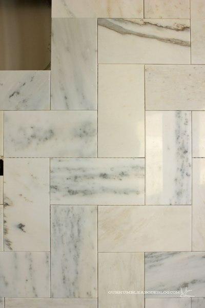 Marble-Herringbone-Shower-Tile-Detail