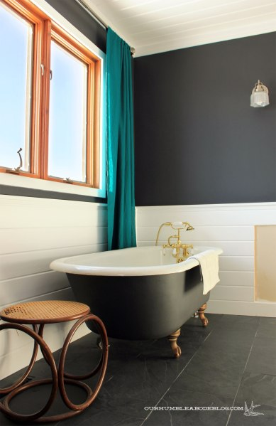 Master-Bathroom-Claw-Foot-Tub-and-Teal-Curtains