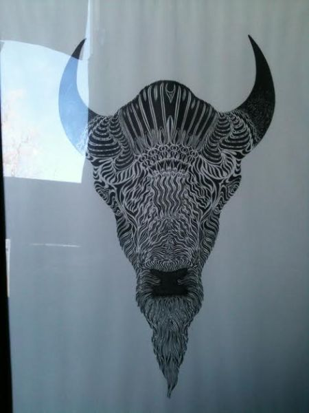 Bison Drawing at Thrift Store