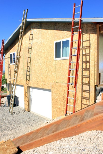 Garage-Side-of-House-with-Insulation-Wrap