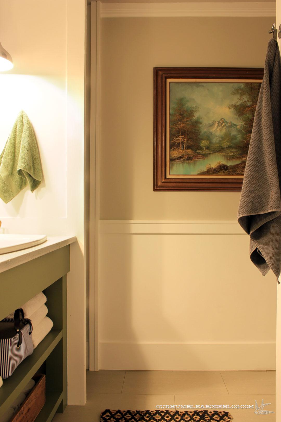 Main Bathroom Green Vanity And