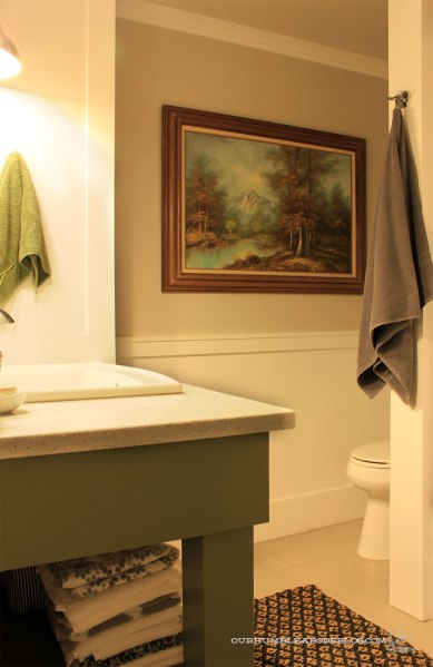Main-Bathroom-Green-Vanity-from-Door-with-Painting