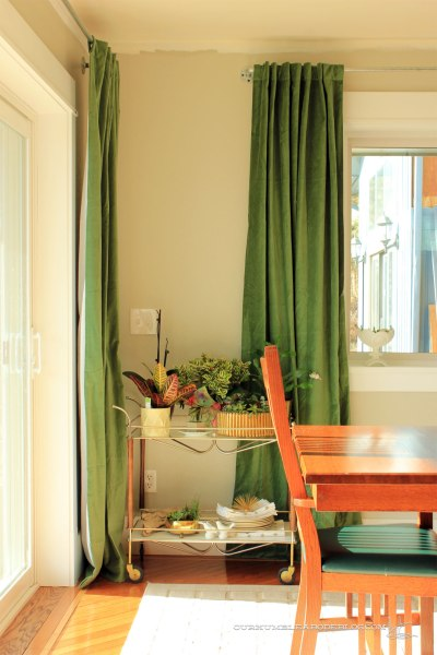 Green-Curtains-in-Dining-Room-by-Plants