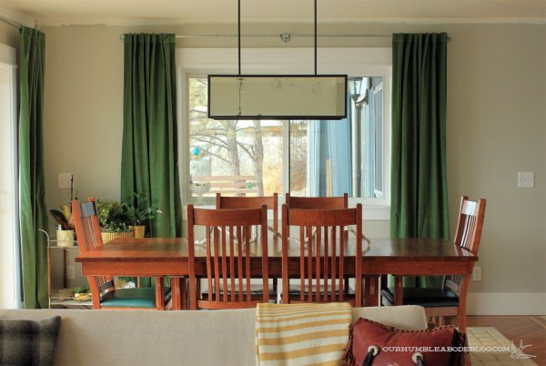 Green Curtains In Dining Room Window