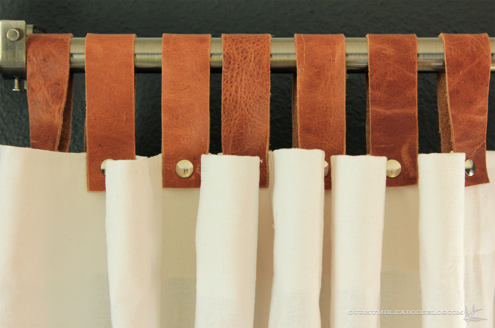 Leather Tab Top Curtains Detail