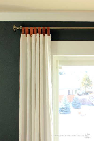 Leather Tab Top Curtains In Master Bedroom