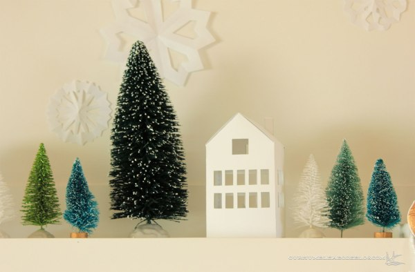 Christmas mantel paper house detail