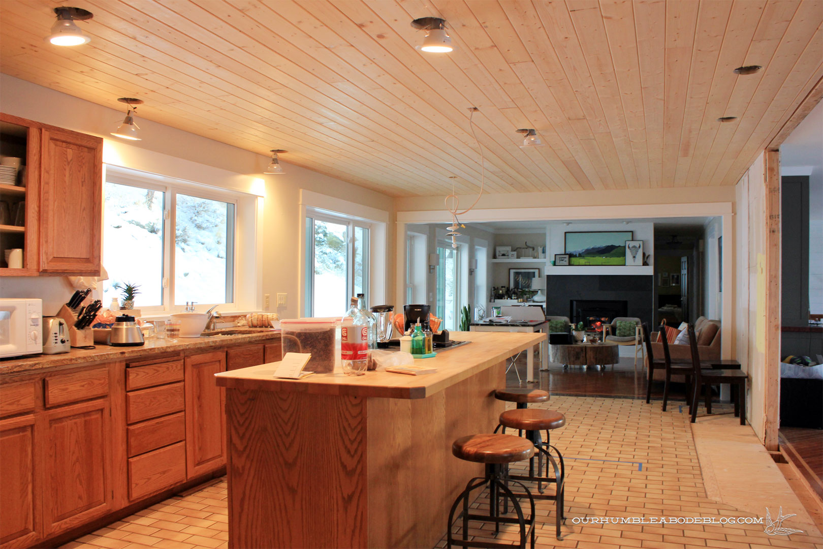 Kitchen Ceiling Tongue And Groove Planks Toward Family Room