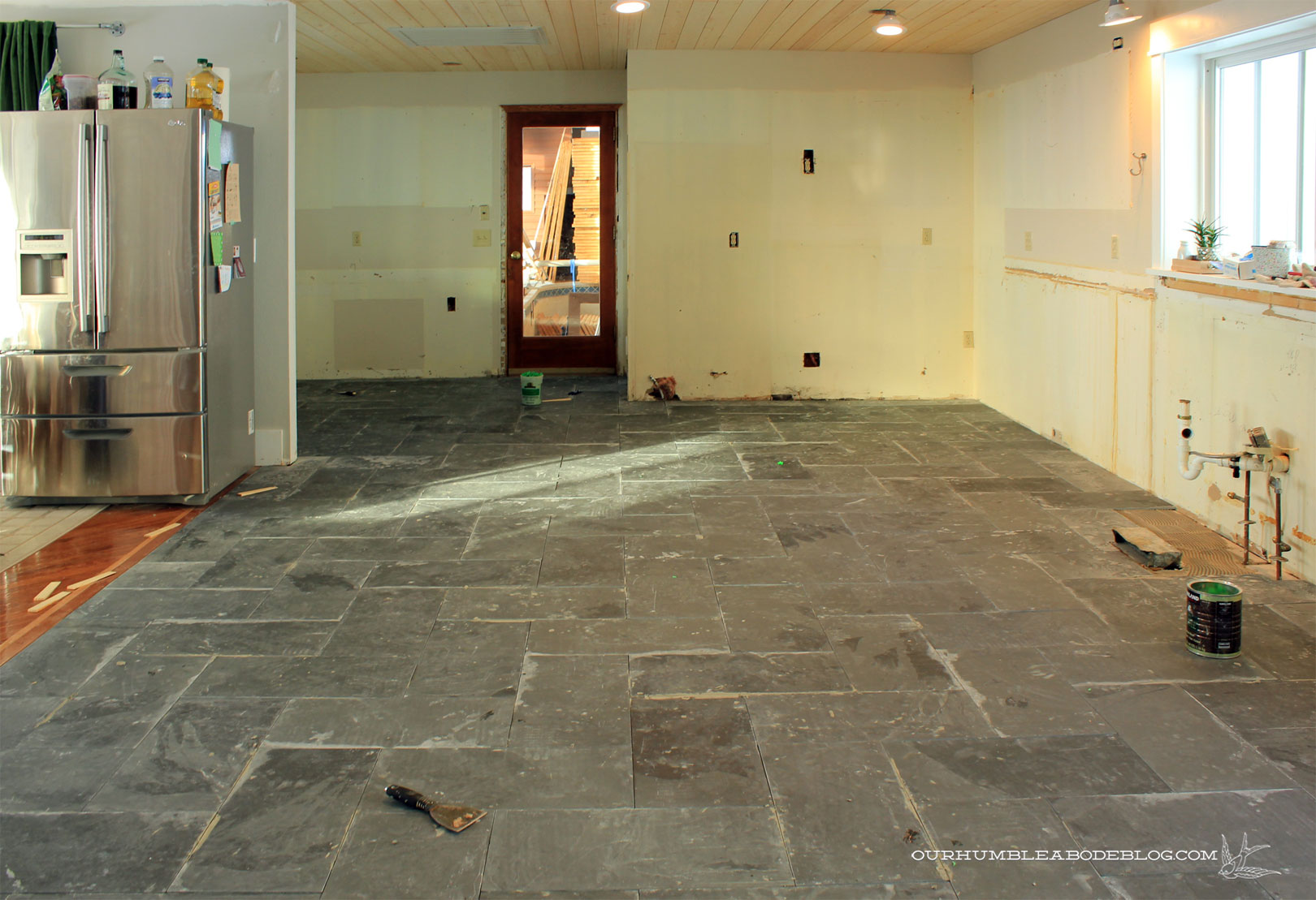 Kitchen slate floors dry