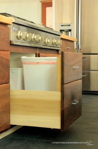Walnut-Drawers-Trash-Bin
