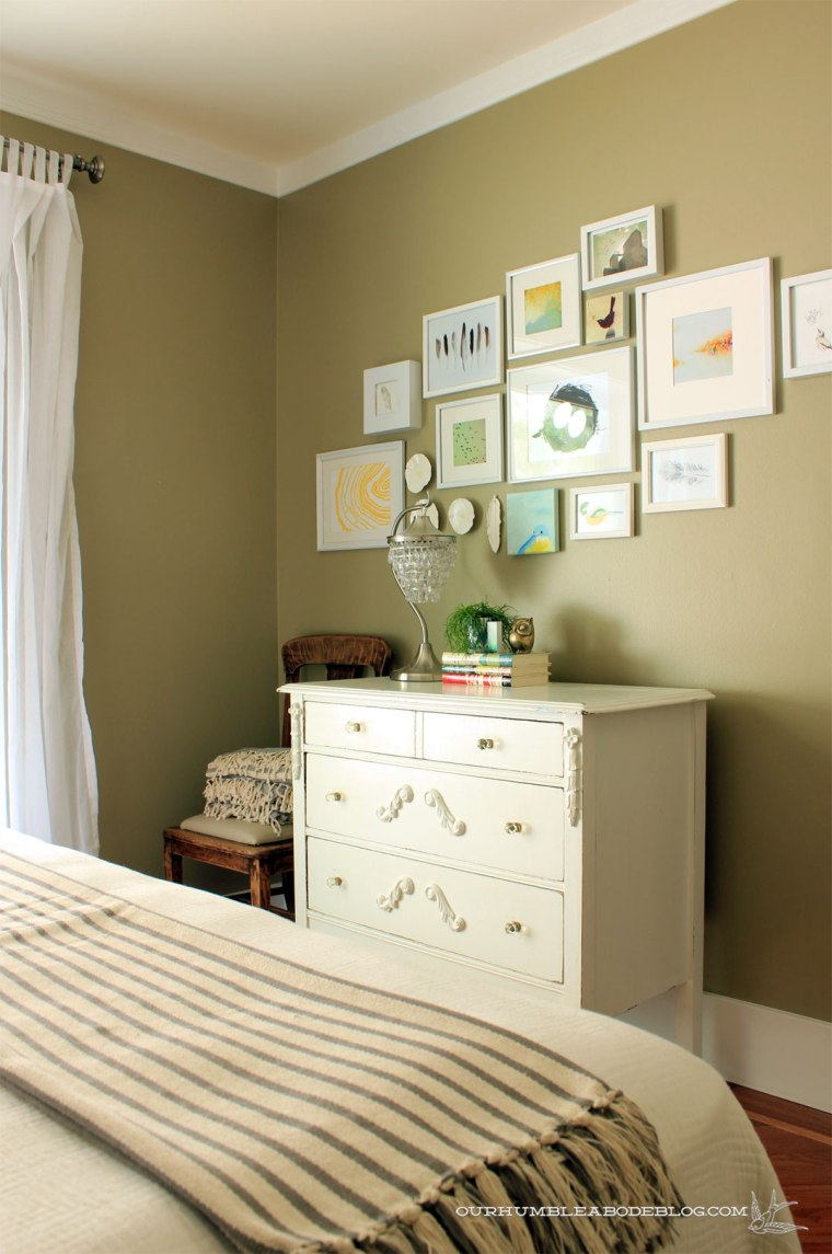 Guest-Room-Makeover-Green-Walls-White-Dresser-Chair