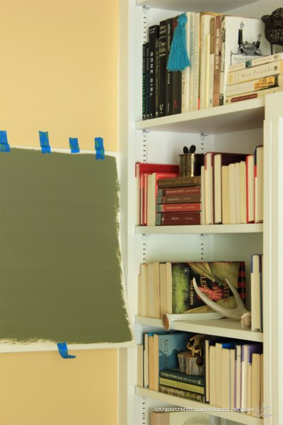 Tate-Olive-Sample-Paint-by-Bookshelf-Left