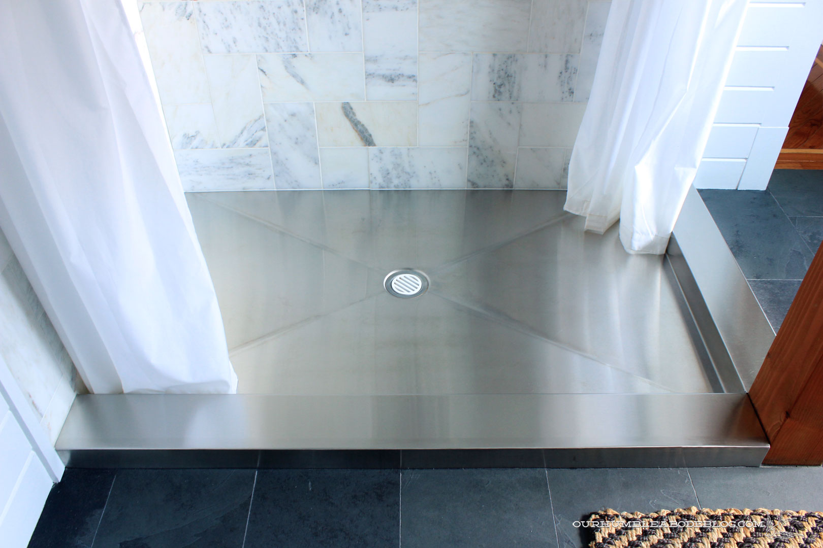 Stainless Steel Shower Pan After Bon Ami Cleaning